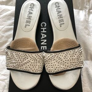 CHANEL black and white sequins mules